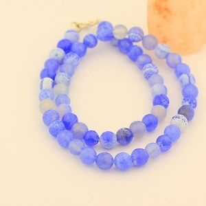 Frosted Agate Beads Stone Necklace